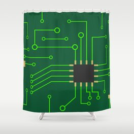 Microchip Pcb, tech print Shower Curtain