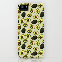 Dancing Millennial Avocados on Beige, Ditsy print iPhone Case
