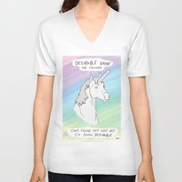 penis V-neck T-shirts featuring Unicorn, Penis horn by Bluh