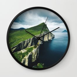 on top of faroe islands Wall Clock