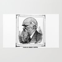 darwin Area & Throw Rugs featuring Charles Robert Darwin by Bramble & Posy