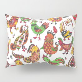Roosters and hen pattern Pillow Sham