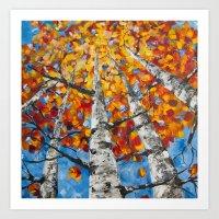 Flaming Foliage Art Print