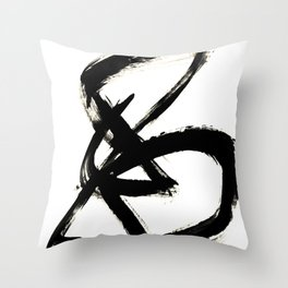 Brushstroke 3 - a simple black and white ink design Throw Pillow