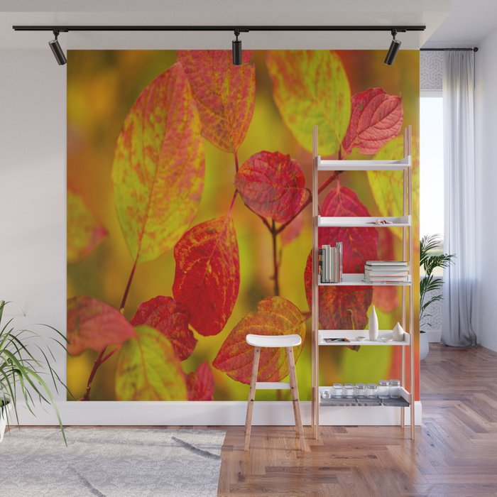 Red autumn leaves #decor #society6 Wall Mural