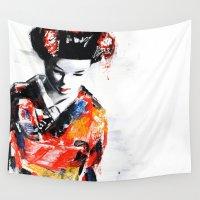 geisha Wall Tapestries featuring Geisha by The Lie