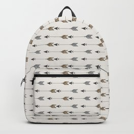 Vertical Arrow Patterns - Cream and Neutral Earth Tones Backpack