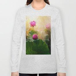 Pink Lotus Flower Long Sleeve T-shirt