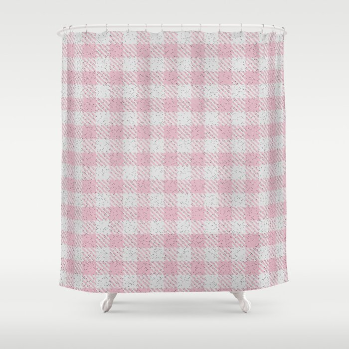 Light Pink Buffalo Plaid Shower Curtain