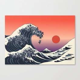 The Great Wave of Black Pug Canvas Print
