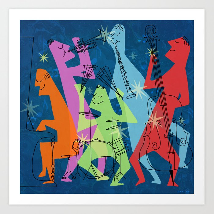 Mid Century Modern Jazz Band Art Print By Sunnybunny