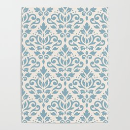 Scroll Damask Big Pattern Blue on Cream Poster