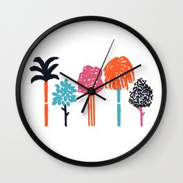 Color Trees Wall Clock
