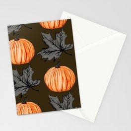 Pumpkin Brown Autumn Leaf Stationery Cards