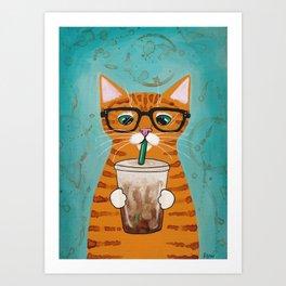 Iced Coffee Cat Art Print