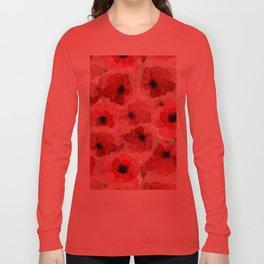 Pressed Poppy Blossom Pattern Long Sleeve T-shirt