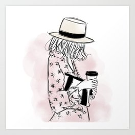 Casual young girl wearing hat and floral dress, clutch bag and a cup of coffee ready to hustle Art Print