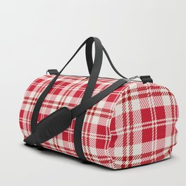 Cozy Plaid in Red and Cream Duffle Bag
