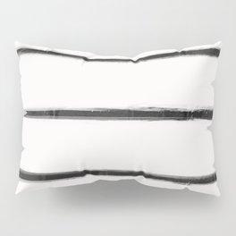 Skinny Strokes Gapped Horizontal Black on Off White Pillow Sham