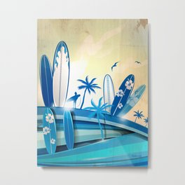 surfboard  background on sky background Metal Print
