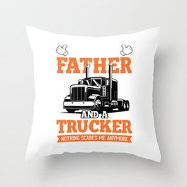 This Guy Is A Father And A Trucker Driver Gift Throw Pillow
