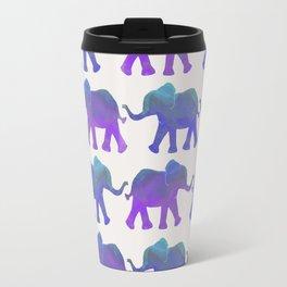 Follow The Leader - Painted Elephants in Royal Blue, Purple, & Mint Travel Mug