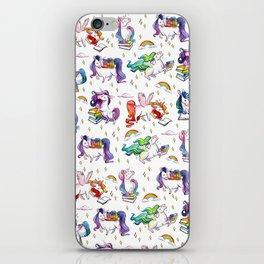 Reading Unicorn Pattern iPhone Skin