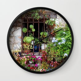 Window full of Plants - Botanical and Nature travel photography - Old window in Small Village in France Wall Clock