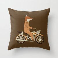 tomb raider Throw Pillows featuring Wild Raider by Teo Zirinis