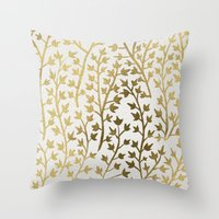 fabric Throw Pillows featuring Gold Ivy by Cat Coquillette