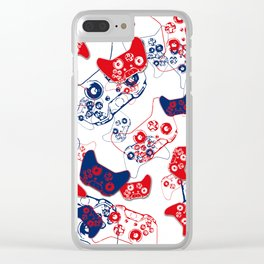 Video Game Red White & Blue 3 Clear iPhone Case