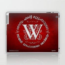 Joshua 24:15 - (Silver on Red) Monogram W Laptop & iPad Skin