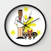 powerpuff girls Wall Clocks featuring Andres Bonifacio and the Filipino Powerpuff Girls by Cesar Cueva