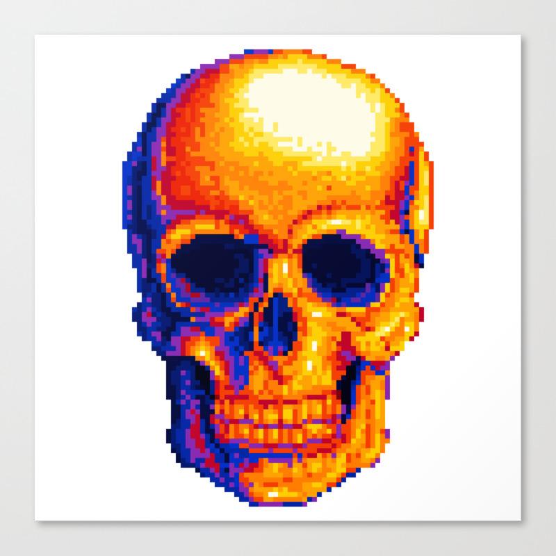 Neon Skull Pixel Art Canvas Print By Odcodrea Society6