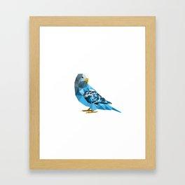 Geometric blue parakeet Framed Art Print