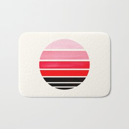 Red Mid Century Modern Minimalist Circle Round Photo Staggered Sunset Geometric Stripe Design Bath Mat