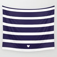 preppy Wall Tapestries featuring PREPPY STRIPES by Anna Eve
