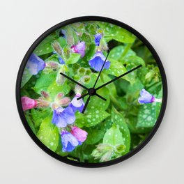 little flowers pink and violet Wall Clock