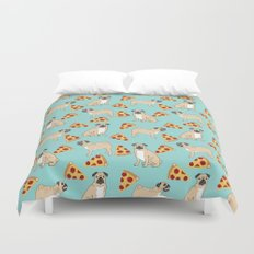 Pug Pizza Party cute pug dog owner gifts food pet gifts puggle puppy dog pet portrait trendy  Duvet Cover