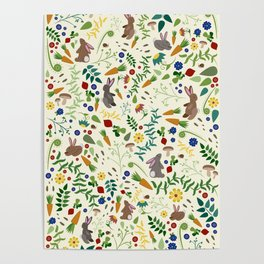 Rabbits In The Garden Poster