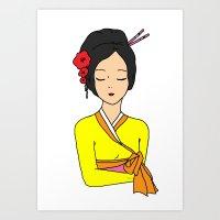 korean Art Prints featuring Korean Maiden by RaJess