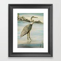 Great Blue Heron in Oil Framed Art Print