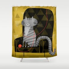 SEATED GRAY TABBY Shower Curtain
