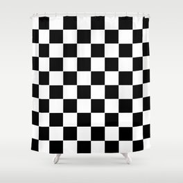 Checker Cross Squares Black & White Shower Curtain