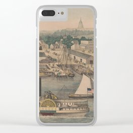 Vintage Pictorial Map of The 6th Street Wharf - Washington DC Clear iPhone Case