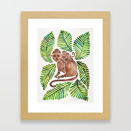 Monkey Cuddles – Tropical Green Framed Art Print