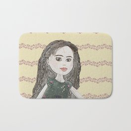 Drawing of a Girl Bath Mat