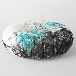 Turquoise & Gray Flowers Floor Pillow