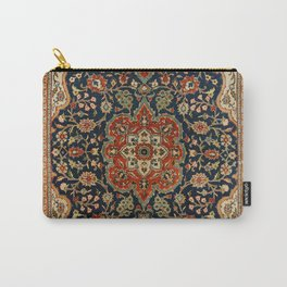 Central Persia 19th Century Authentic Colorful Dark Blue Red Tan Vintage Patterns Carry-All Pouch