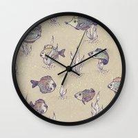 swimming Wall Clocks featuring swimming by Lidija Paradinović Nagulov - Celandine